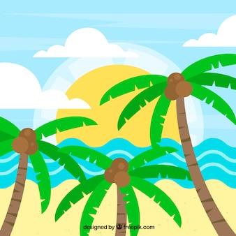 Пляж пейзаж фон с пальмами в плоский дизайн