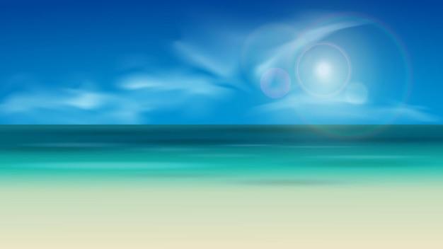 Пляжный пейзажный фон с солнечным светом и облаками