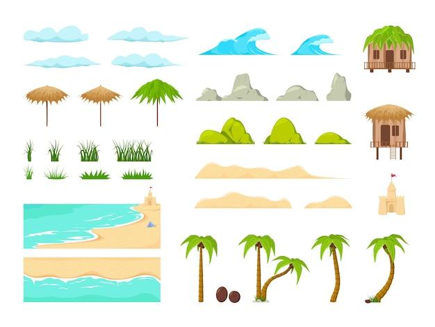 ビーチランドスケープコンストラクター。ビーチの風景の要素。自然のビーチ、雲、丘、山の木々やヤシ