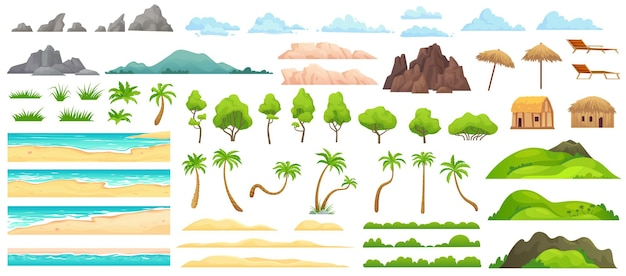 Beach landscape constructor. sandy beaches, tropical palms, mountains and hills. ocean horizon, clouds and green trees cartoon illustration set.
