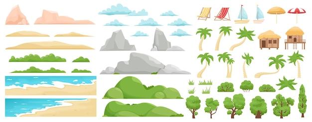해변 풍경 요소. 자연 해변, 구름, 언덕, 산, 나무 및 야자수.