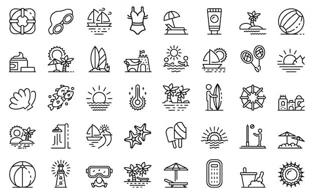 Beach landscape icons set