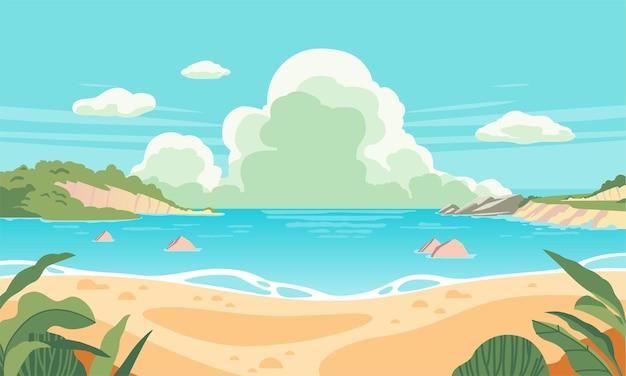 Иллюстрация пляжного пейзажа в летнее время