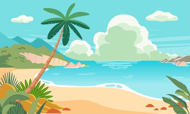 Пляжный пейзаж иллюстрация с пляжным растением солнечный день в летнее время с голубым небом и облаками