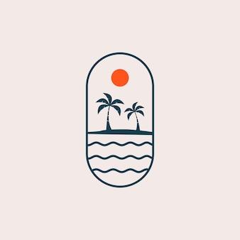 ビーチの風景のロゴ