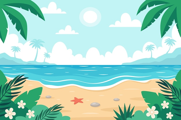 Beach landscape seashore with palms and tropical plants