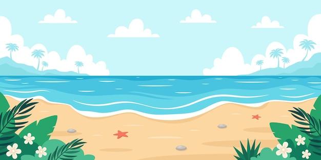 야자수 열 대 식물과 해변 풍경