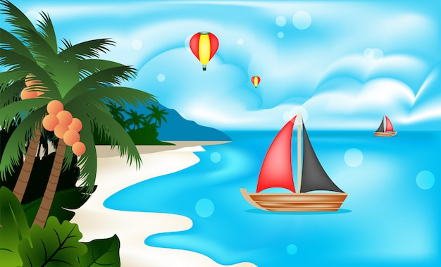 ビーチの風景を見る