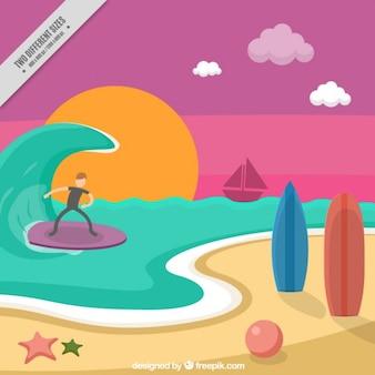 Пляжный пейзаж с серфер фоне