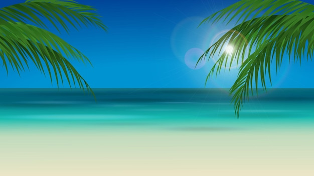 Beach landscape with palm trees and blue sky