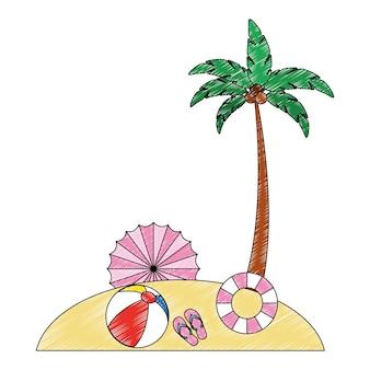 Beach landscape with set icons vector illustration design