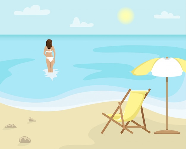 Beach landscape with sun lounger and sun umbrella. girl in a swimsuit is in the sea. flat illustration.