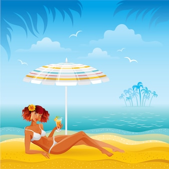Beach landscape with tan girl in bikini laying under the umbrella with cocktail. summer woman fashion illustration.