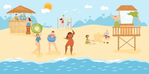 Beach leisure for people at summer vacation,  illustration.man woman character at tropical ocean resort, holiday cartoon lifestyle. happy relax travel at seaside, fun recreation activity.