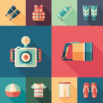 Beach leisure set of flat square icons with long shadows.