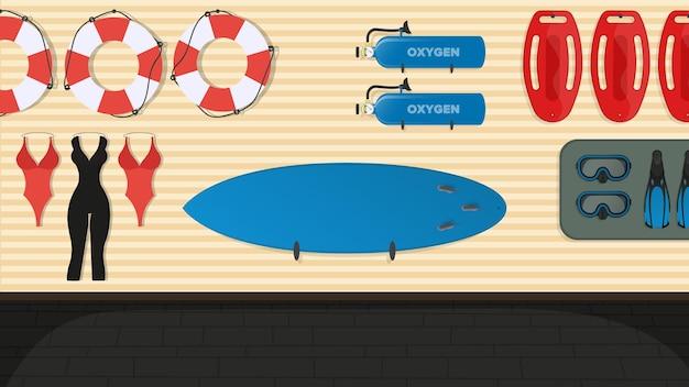 해변 인명 구조 원 방. 수영 보드, 구명 부표, 지느러미 및 마스크, 산소 탱크. 만화 스타일.