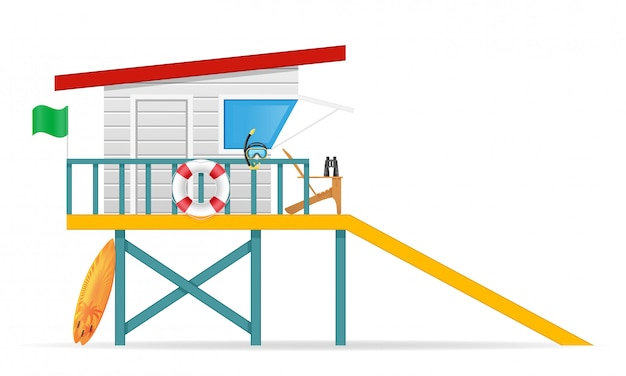 Beach lifeguard tower to save drowning people