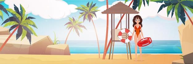 야자수와 해변에서 해변 근 위 기병 연대 여자입니다. 빨간 수영복을 입은 소녀. 만화