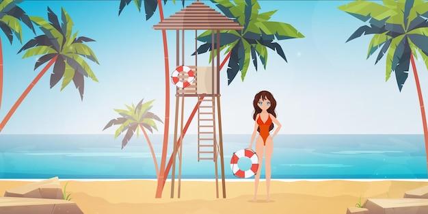 야자수와 해변에서 해변 근 위 기병 연대 여자입니다.