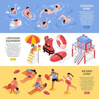 Пляжные спасатели горизонтальные баннеры, иллюстрированные спасателем, рабочая экипировка и спасательные принадлежности изометрии