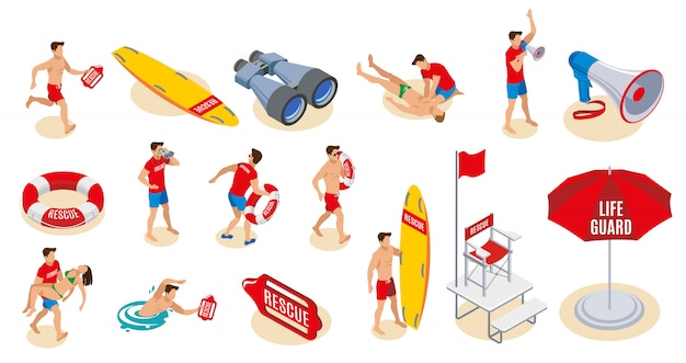Beach lifeguards inventory isometric set of binocular loudspeaker umbrella lifebuoy surfboard chair with flag