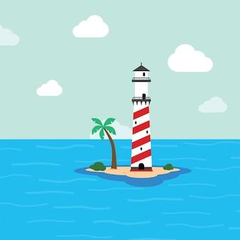 Beach lighthouse seashore view vector art illustration