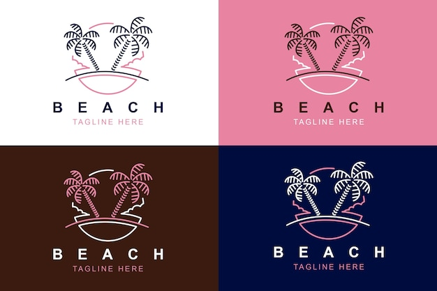 Beach line art logo design