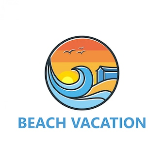 Beach logo design for traveling and outdoor