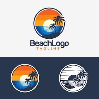 Beach logo design vector template