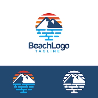 Beach logo design vector template