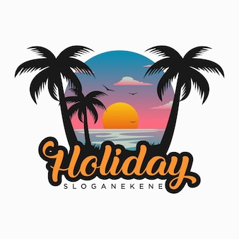 Шаблон векторов дизайна логотипа пляжа