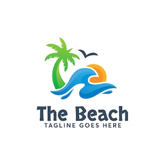 The beach logo template modern design summer holidays