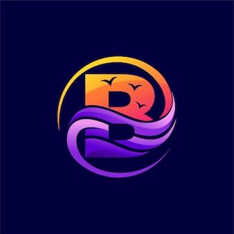 문자 b 개념이 있는 해변 로고