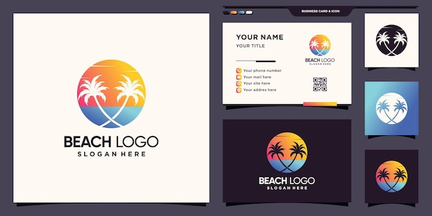 Beach logo with sun and palm tree icon logo and business card design premium vector