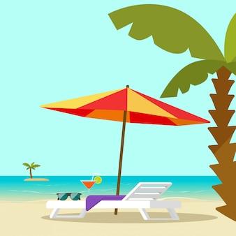 Пляжный шезлонг на берегу моря и зонт от солнца векторная иллюстрация плоский мультяшный стиль