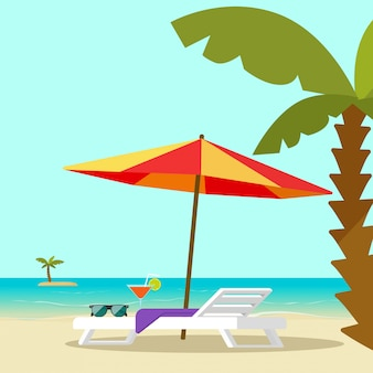 Beach lounge chair near sea shore and sun umbrella vector illustration flat cartoon style