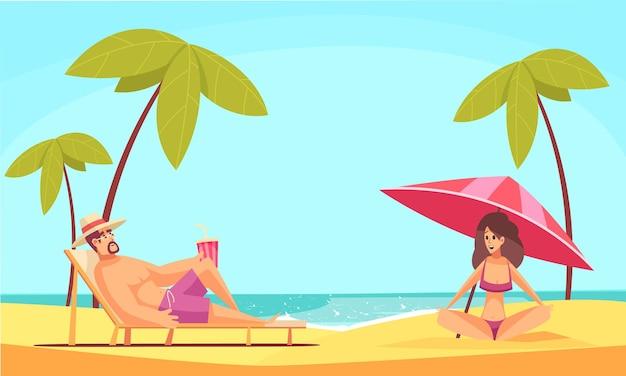 Uomo della spiaggia con composizione di donna con costa del mare e personaggi scarabocchiati di persone che si posano sull'illustrazione della sabbia