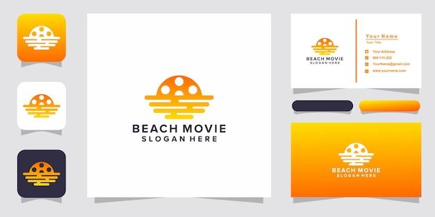 Beach movie film logo and business card