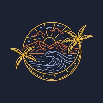 Пляж природа приключения дикий серфинг большая волна линия графическая иллюстрация дизайн футболки