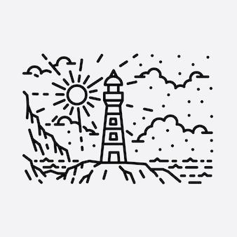 Пляж природа маяк приключения дикая линия значок патч булавка графическая иллюстрация искусство дизайн футболки