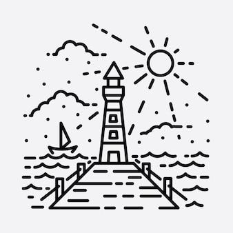 ビーチ自然灯台アドベンチャーワイルドラインバッジパッチピングラフィックイラストアートtシャツデザイン