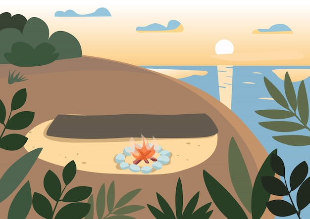 Beach at night flat color illustration. picnic blanket near bonfire. summer camping, holiday on nature. evening seashore, cliff and sea 2d cartoon landscape with sunset on background