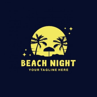 Beach night logo  template