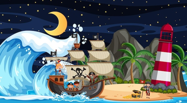 Beach at night scene with pirate kids cartoon character on the ship