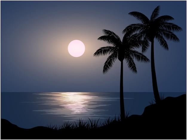 해변의 밤 풍경 프리미엄 벡터