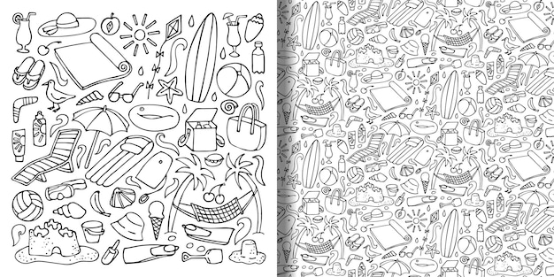 Beach objects hand drawn doodle set and seamless pattern vector collection for textile prints