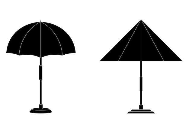 Значки символов зонтика пляжа или бассейна иллюстрация черного цвета символ лета