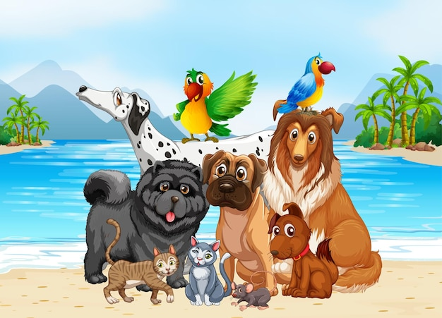 Beach outdoor scene with group of pet
