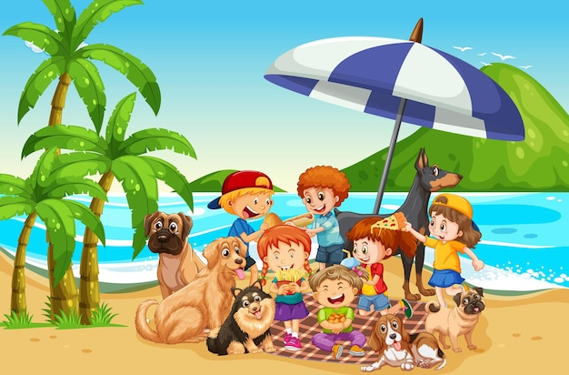 Beach outdoor scene with many children and their pet