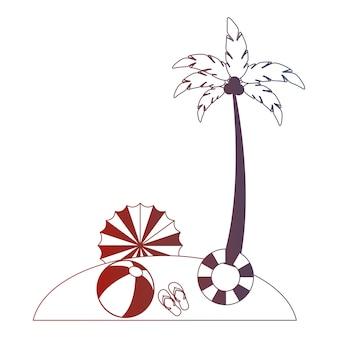 Beach palm umbrella float ball sandals